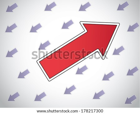 colorful red arrow moving up opposite direction to other arrows. multicolor Be different unique rebel take risks love your passion dont follow the crowd concept design vector illustration unusual art  - stock vector