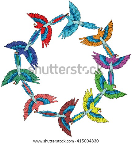 Colorful red parrots macaw logo  - stock vector