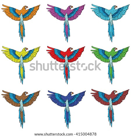 Colorful red parrots macaw logos set - stock vector