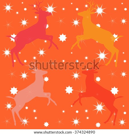 Colorful reindeer and stars on orange background. Vector file. Color Digital illustration. Pattern for textile design, hand knitting, childish holiday album. - stock vector