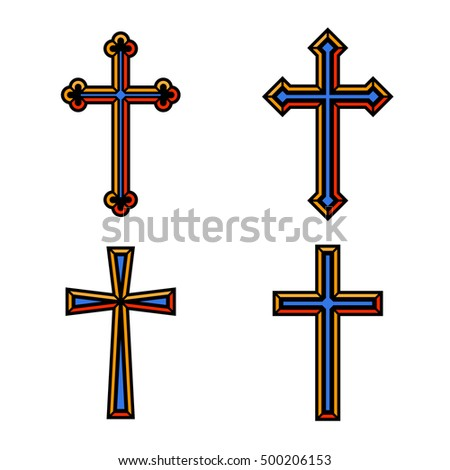 Colorful religious Christian crosses crucifix set design. Vector illustration.