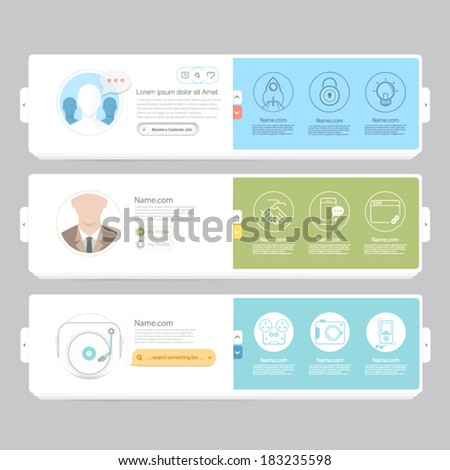 Colorful responsive flat navigation banners with objects and icons for personal portfolio website and mobile templates - stock vector