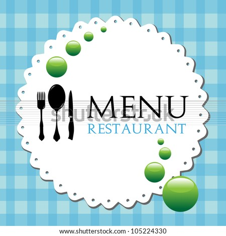 Colorful restaurant menu design with fork, spoon and knife - stock vector
