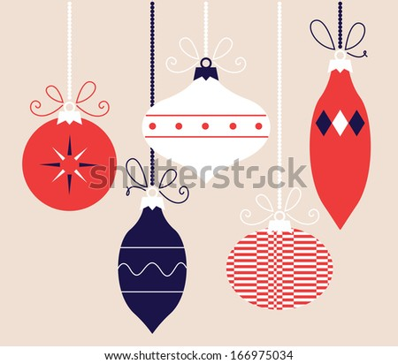 Colorful retro Christmas balls collection, vector