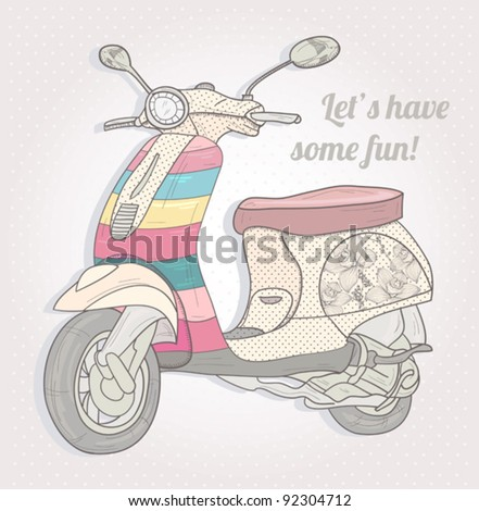 Colorful retro scooter. Vintage vector illustration. - stock vector