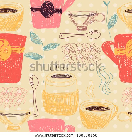 Colorful retro seamless pattern with coffee and tea cups - stock vector