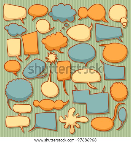 Colorful retro speech bubble collection - stock vector