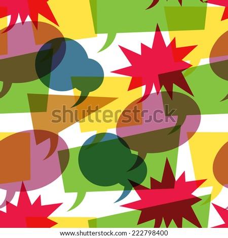 Colorful retro speech bubbles seamless. Vector - stock vector