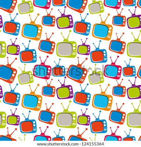 Colorful retro style TV sets seamless background, vector illustration. - stock vector
