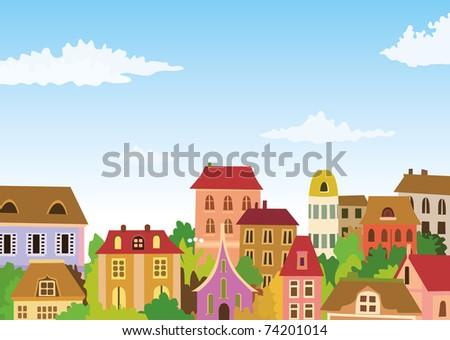 colorful retro town - stock vector