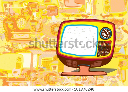 Colorful Retro TV (collection of vector illustration) - stock vector