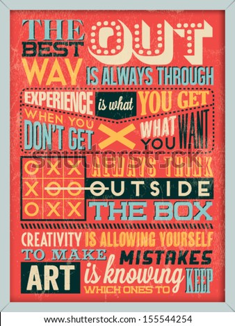 Colorful Retro Vintage Motivational Quote Poster with Calligraphic and Typographic Elements