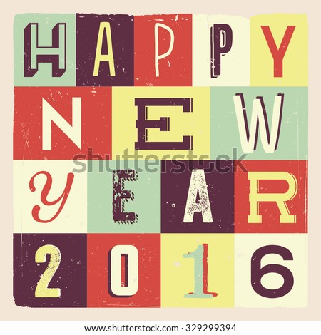 Colorful Retro Vintage 2016 New Year Poster Background  - stock vector