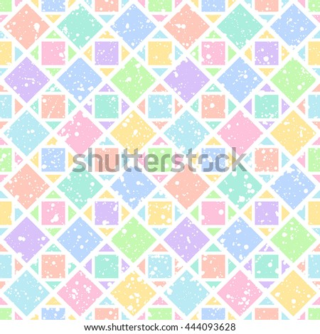 Colorful rhombus or squares with white splash or blobs texture seamless vector pattern. Geometric multicolor abstract background. Squares or rhombic ornament with uneven spots, specks, blots texture. - stock vector