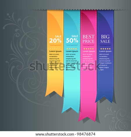 Colorful ribbon promotional products design, vector illustration - stock vector