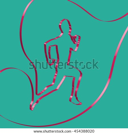 Colorful ribbon shapes a runner, vector - stock vector