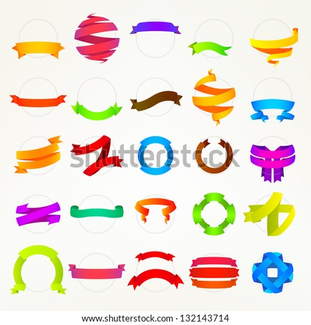 Colorful ribbon tape collection of fifteen design variations, eps10 vector copyspace element set - stock vector