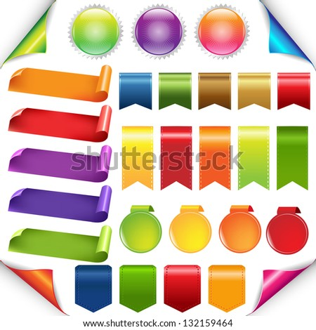 Colorful Ribbons And Label Set, Isolated On White Background, Vector Illustration - stock vector
