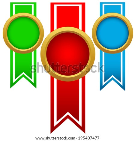 Colorful ribbons set with a circle in the middle isolated on a white