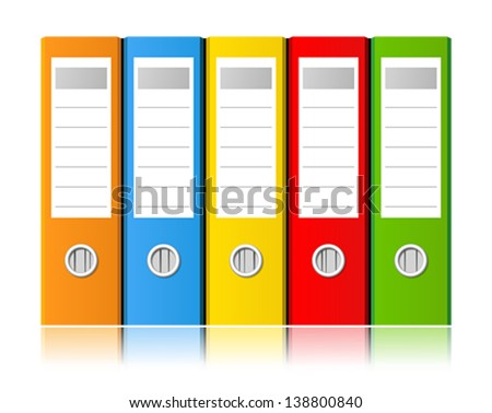 Colorful ring binders full with office documents and business information on a white background. Vector illustration. - stock vector