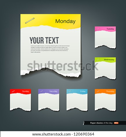 Colorful ripped paper note of the day background, vector illustration - stock vector