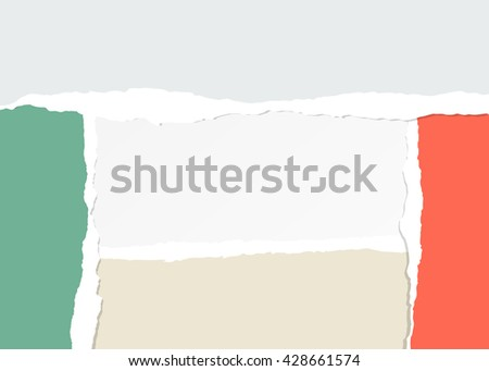 Colorful ripped paper pieces are stuck on white background with copy space - stock vector