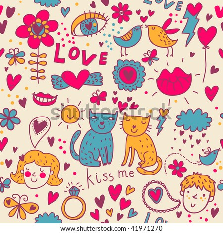 Colorful romantic seamless pattern - stock vector