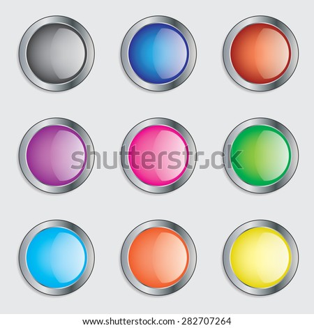Colorful round buttons icon set illustration