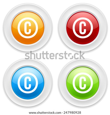 Colorful round buttons with copyright icon on white background - stock vector