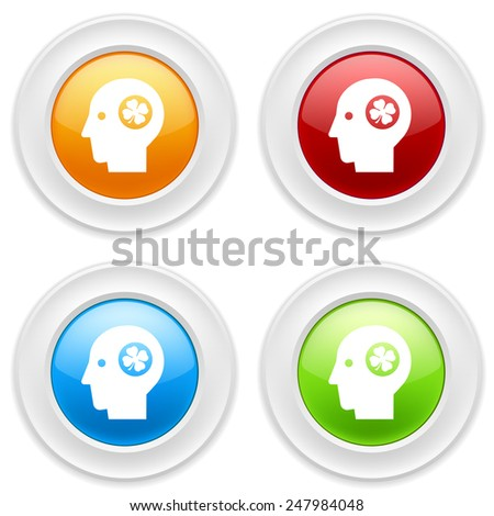 Colorful round buttons with head-luck icon on white background - stock vector
