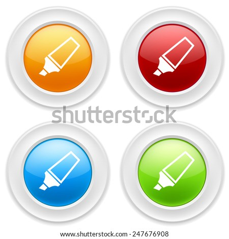 Colorful round buttons with marker icon on white background - stock vector