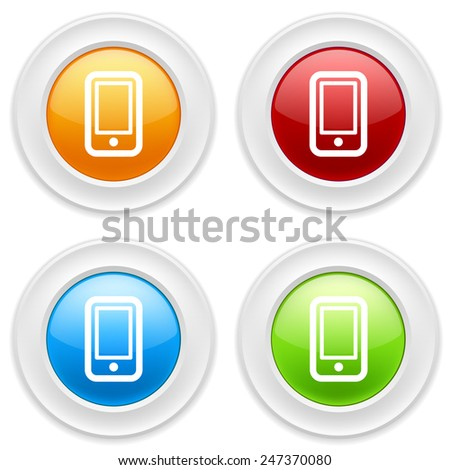 Colorful round buttons with smartphone icon on white background