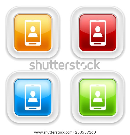 Colorful round buttons with smartphone user icon on white background - stock vector
