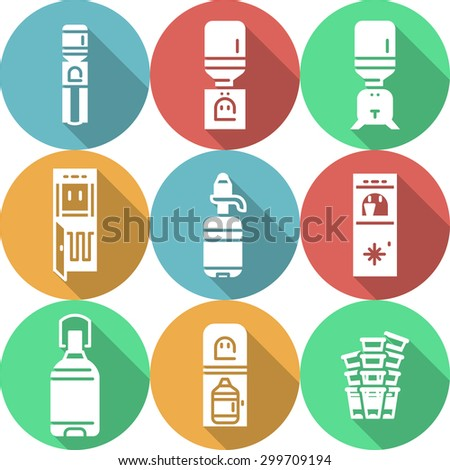 Colorful round flat design vector icons with white silhouette water cooler objects with long shadow. Water purifier, electric cooler, disposable cups, plastic bottle and jug for home and business. - stock vector