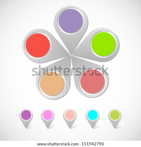 Colorful round pin pointer, stock vector - stock vector