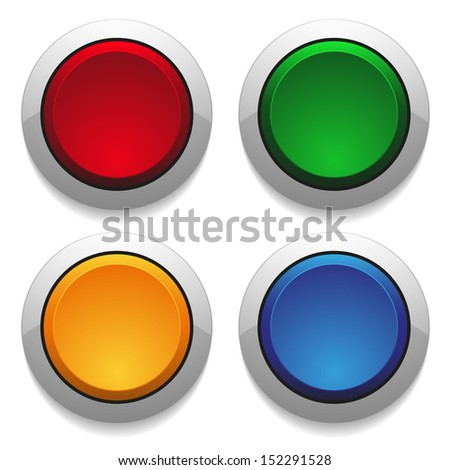 Colorful round push buttons - stock vector