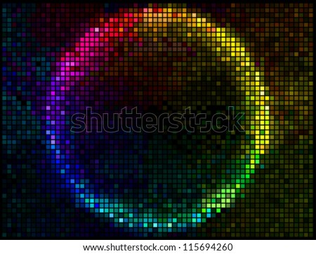 Colorful Round Square Pixel Mosaic Vector Banner.Multicolor Abstract Beautiful Lights Disco Club Background - stock vector