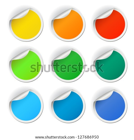 Colorful round stickers set, vector illustration