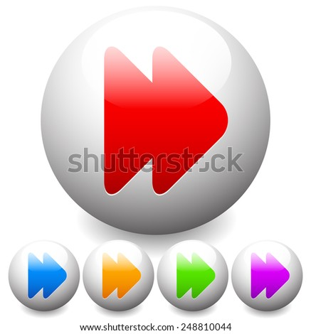 Colorful Rounded Fast-forward button / icon - stock vector