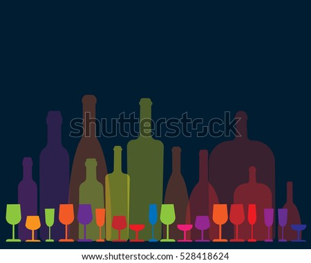 colorful rows of wine bottles and glasses on dark blue background - vector illustration