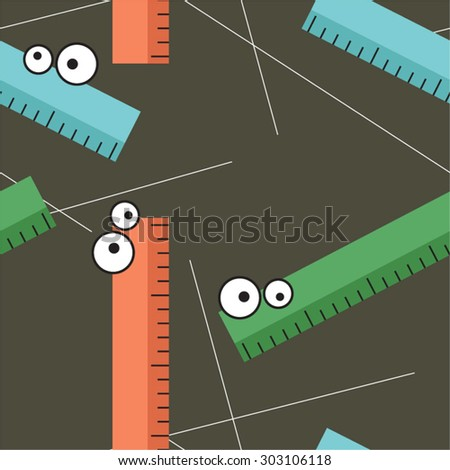 Colorful rulers and lines vector seamless background