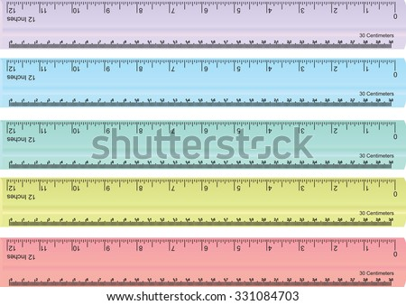 Colorful Rulers Millimeters Centimeters Inches Ruler Stock Photo