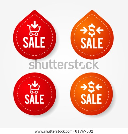 Colorful sale badges and stickers - stock vector