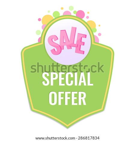 Colorful Sale label with special offer text. Promotion concept. Vector illustration. - stock vector