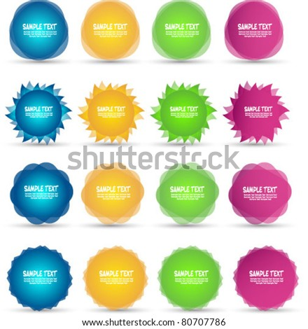 colorful sale stickers and labels - stock vector