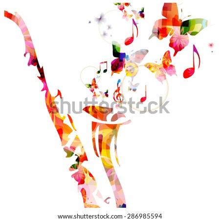 Colorful saxophone design with butterflies. Music background - stock vector