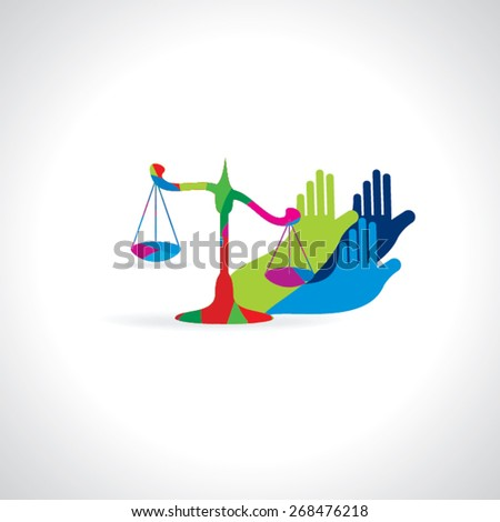 colorful scale with hands right for justice justice vector illustration  - stock vector