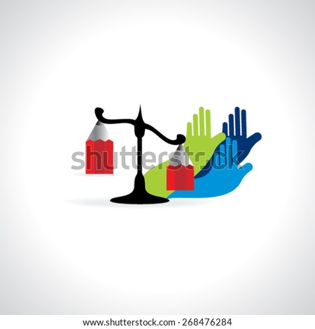colorful scale with hands rights for justice  - stock vector