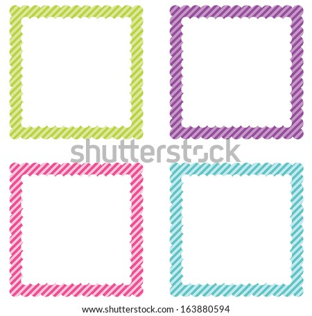 Colorful Scalloped Edge Frame Set - stock vector