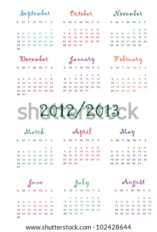 Colorful school calendar on new year school from 2012 to 2013 year - stock vector